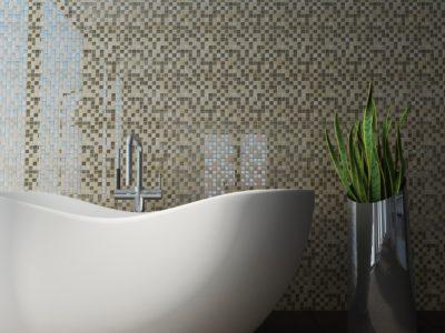 Glass Tile Bathroom Wall | Austin, Cedar Park | Anchor Floors and More