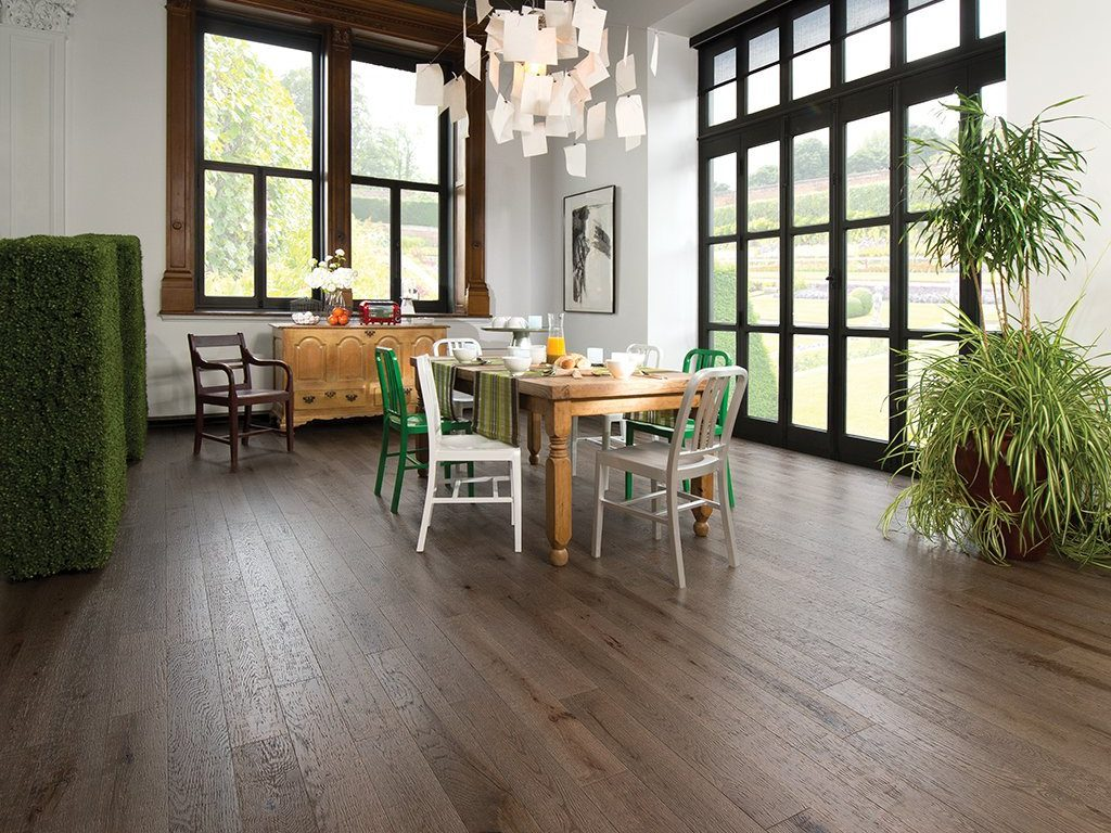 Wood Flooring Living Room | Anchor Floors and More | Dark Brown Rustic Wood